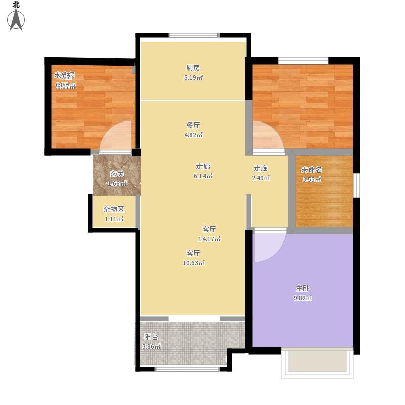 00㎡b2户型3室2厅1卫  位   置:山东 青岛 楼盘名:中海国际社区 面