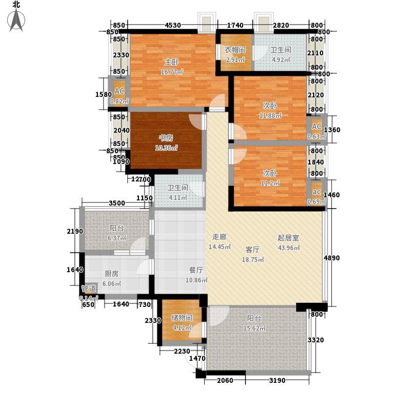 晶蓝半岛168.00㎡d4型户型4室2厅2卫1厨