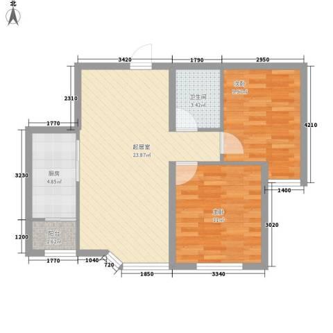 阳光上城一期-上景园77.50㎡标准层B户型2室2厅1卫1厨