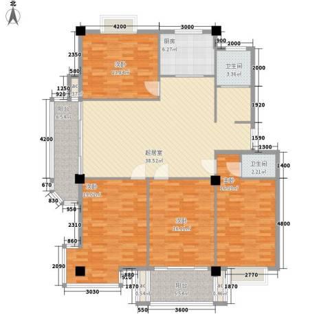 日月花园154.24㎡b1-d户型4室2厅2卫1厨