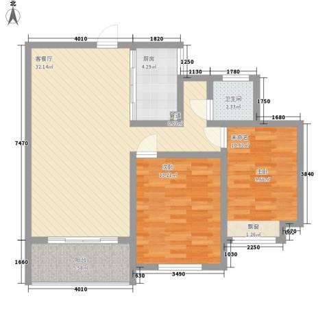 景华城8.27㎡A2户型2室2厅1卫1厨