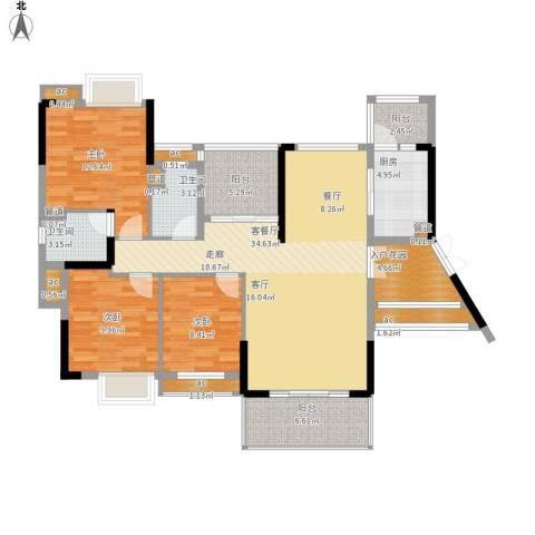 惠州方直.星耀国际B户型127-129平米三室二厅