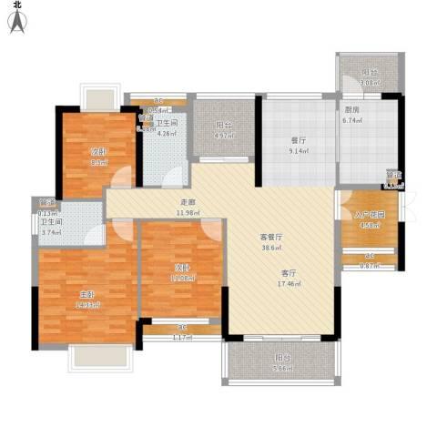 惠州方直.星耀国际D户型137-140平米三室二厅