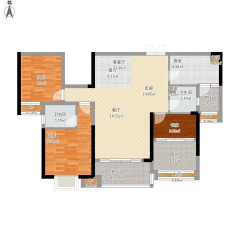 惠州方直.星耀国际E户型126平米三室二厅