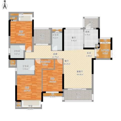 惠州方直.星耀国际F户型168平米三室二厅