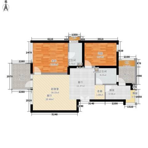 绿中海雅庭90.00㎡90平米2楼2室2厅1厨2卫户型2室2厅2卫1厨-副本