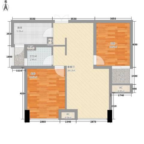 青山湾90.26㎡二期H户型2室2厅1卫1厨-副本