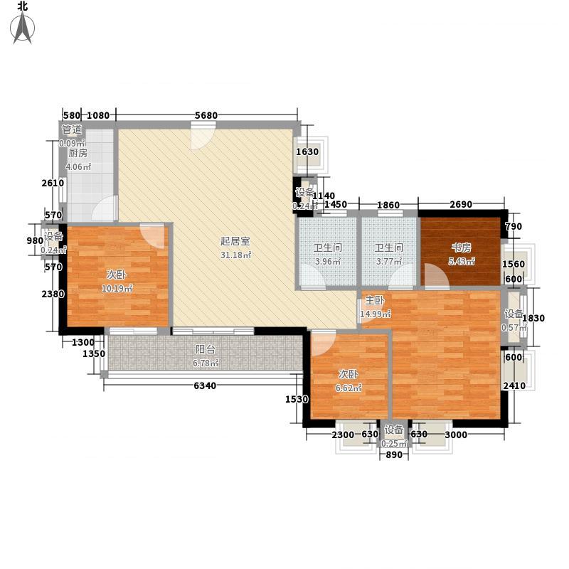 79㎡龙锦大厦户型图北塔东座01单元3室2厅2卫1厨户型