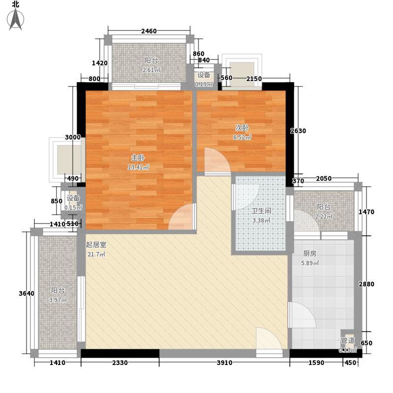 05㎡龙锦大厦户型图北塔西座04单元2室2厅1卫1厨户