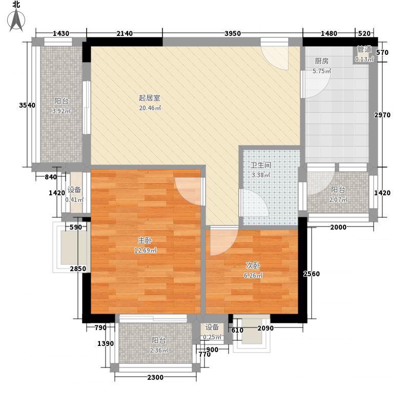 95㎡龙锦大厦户型图南塔西座04单元2室2厅1卫1厨户型