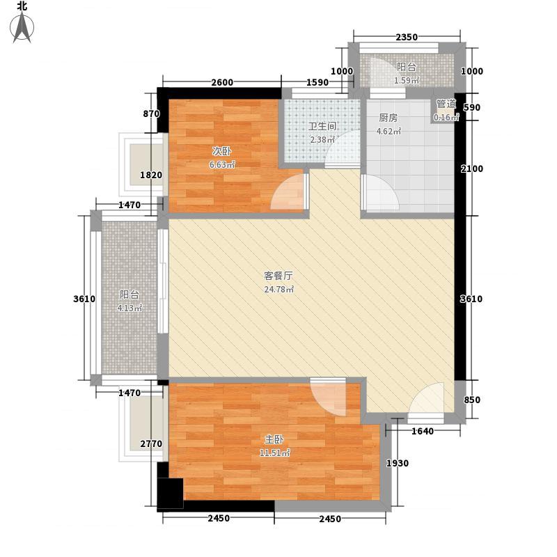 83㎡龙锦大厦户型图南塔西座05单元2室2厅1卫1厨户型