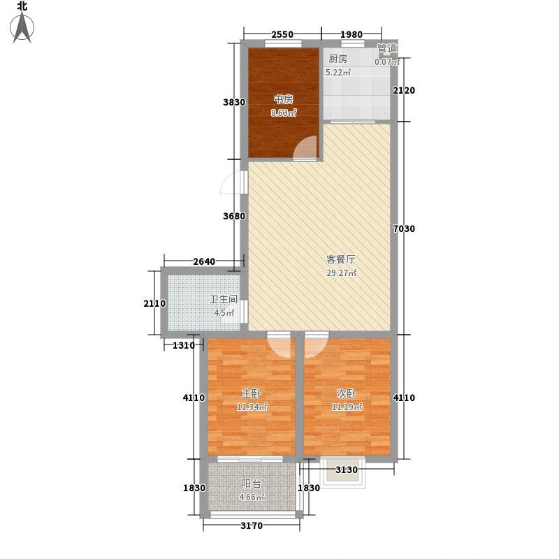 00㎡户型3室2厅1卫1厨  山东 威海 竹岛山海苑 套内面积:74.
