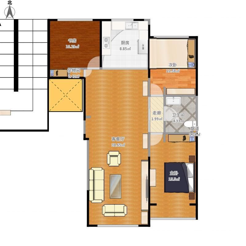 辽宁省 锦州市 凌河区 东湖国际119.6平米三室两厅一卫 户型图