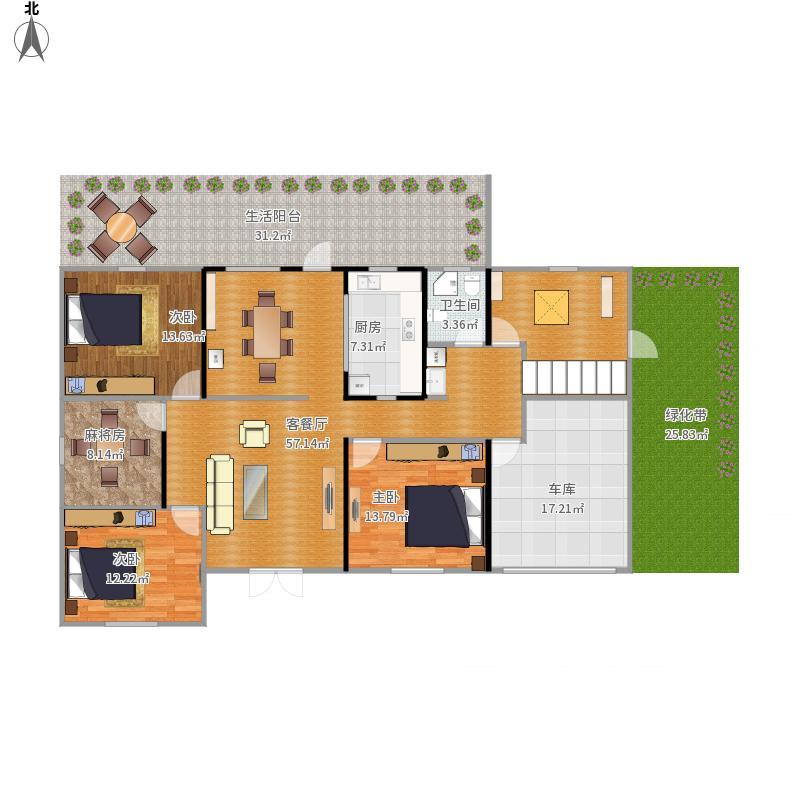村平房4间格局住宅户型图-农村平房4间格局