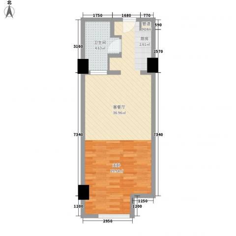 摩登时代52.00㎡户型1室