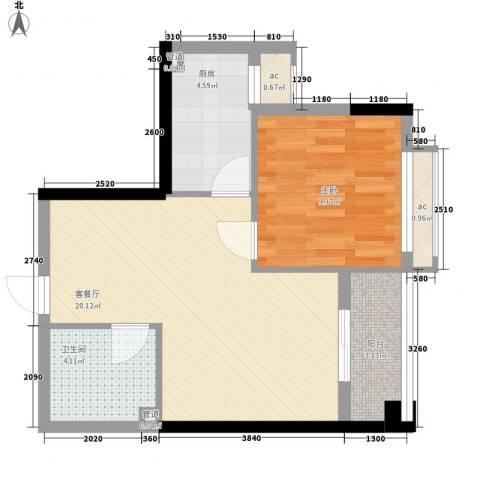 泉舜滨海上城48.00㎡4号楼e户型1室2厅1卫1厨