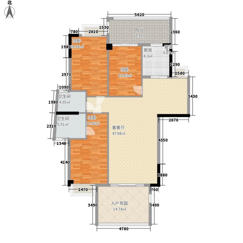 金叶岛152.10㎡h栋3-10层i户型3室2厅2卫1厨