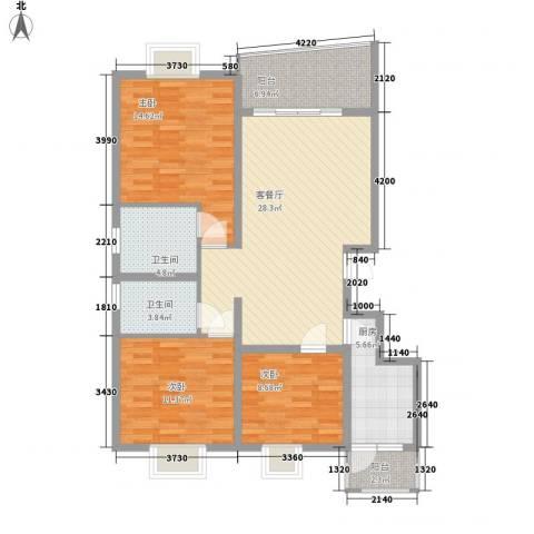 十里江南15.00㎡B层-2户型3室2厅2卫1厨