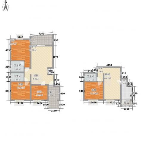 十里江南156.00㎡B2首下跃层户型4室3厅2卫1厨