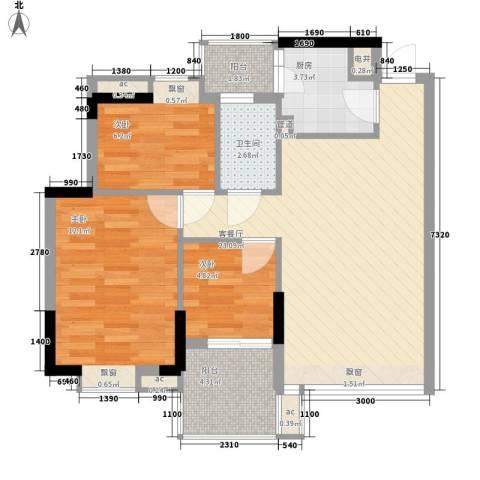理想家园86.00㎡怡景阁1栋偶数层03单元户型3室2厅1卫1厨