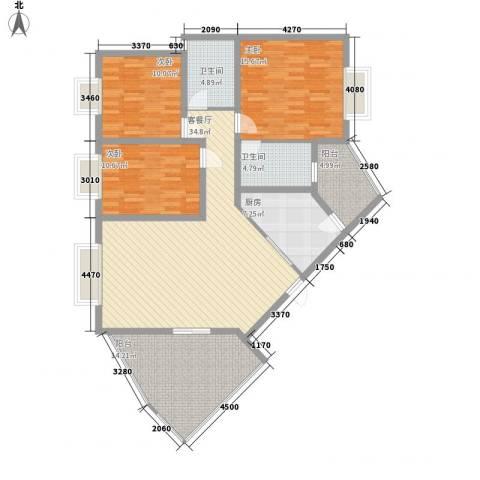 十里江南122.00㎡B2户型3室2厅2卫1厨