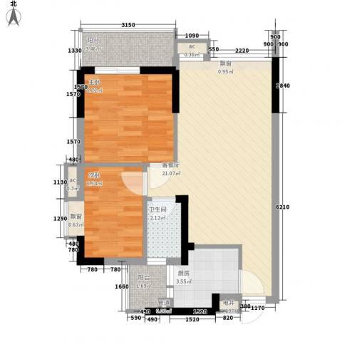 理想家园74.00㎡怡景阁1栋偶数层04单元户型2室2厅1卫1厨