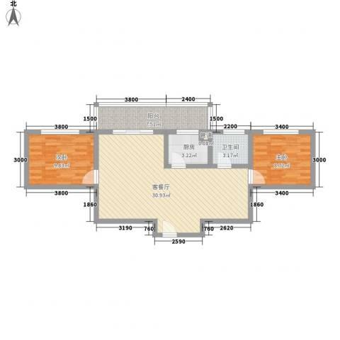 古镇庭苑76.10㎡A-1户型2室2厅1卫1厨