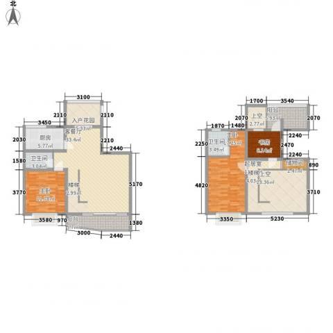 十里江南135.00㎡A2复式上下层户型3室2厅2卫1厨