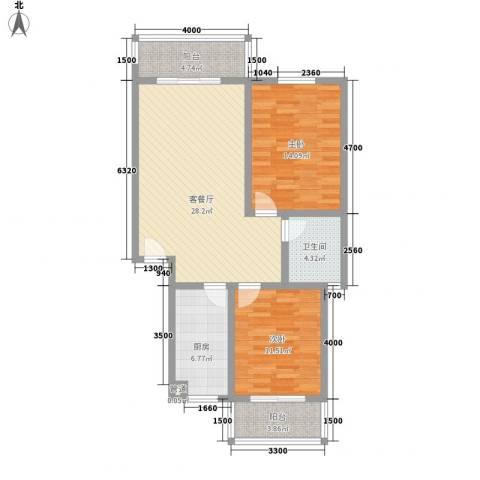 古镇庭苑87.00㎡B户型2室2厅1卫1厨