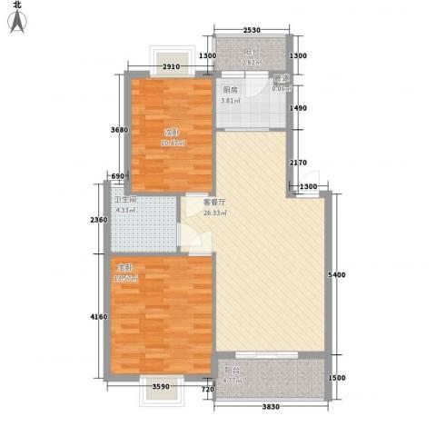 西江月78.70㎡6~18栋1~6层B1户型2室2厅1卫1厨