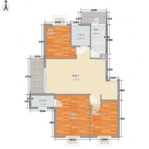 西江月6.54㎡6~18栋1~6层C1户型3室2厅2卫1厨