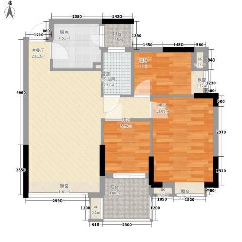 理想家园86.00㎡怡景阁1栋偶数层02单元户型3室2厅1卫1厨