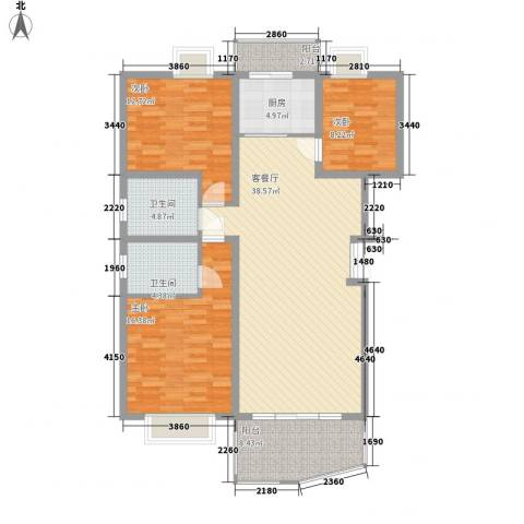十里江南124.00㎡B7B层户型3室2厅2卫1厨