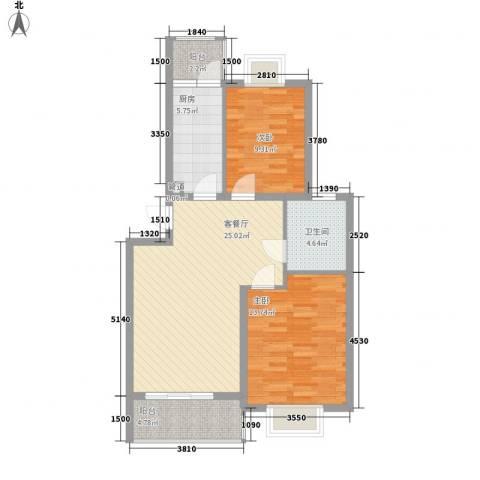 西江月76.17㎡6~18栋1~6层C2户型2室2厅1卫1厨
