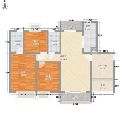 西江月112.62㎡19、20、21栋2~17层B3户型3室2厅2卫1厨