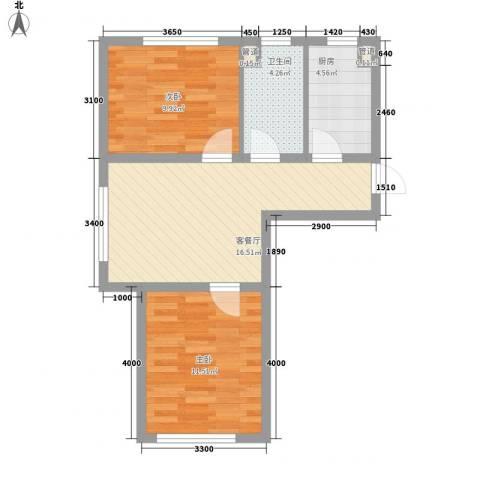 新城丽景67.68㎡4、5号楼A户型2室1厅1卫1厨