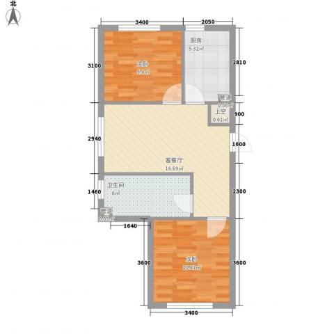 新城丽景68.65㎡2号楼C户型2室1厅1卫1厨