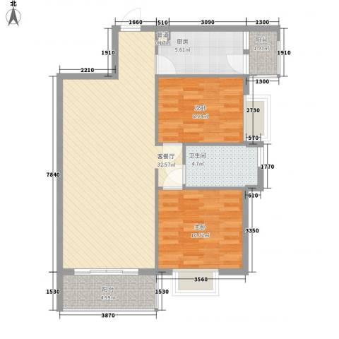 西江月85.35㎡19、20、21栋2~17层B2户型2室2厅1卫1厨