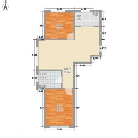 新城丽景76.33㎡1号楼C户型2室1厅1卫1厨