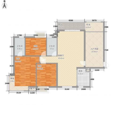 西江月125.10㎡22、23栋2~18层A1户型3室2厅2卫1厨