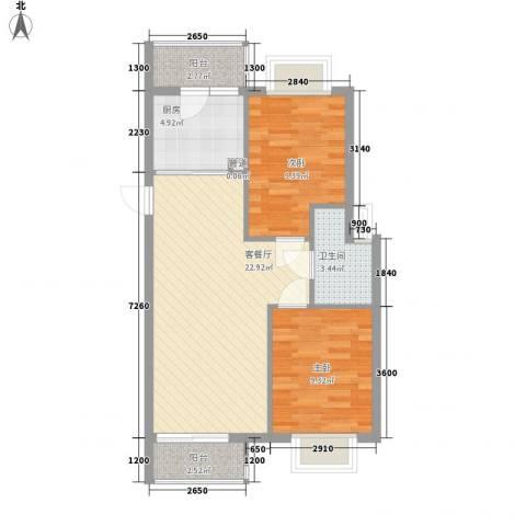 西江月66.51㎡6~18栋1~6层A2户型2室2厅1卫1厨