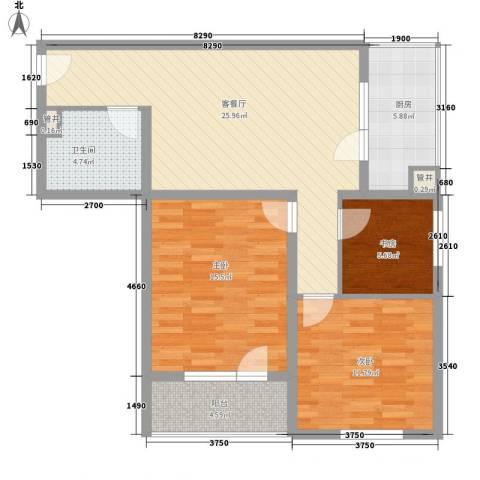 城南秀色16.30㎡1#A02户型3室2厅1卫1厨