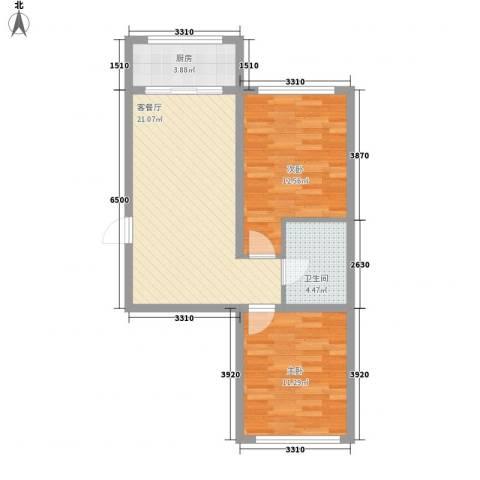 金地卡诗维亚71.76㎡2栋C户型2室2厅1卫