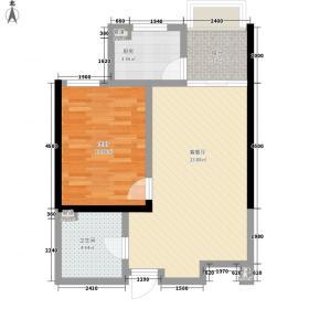 世贸晶钻B2户型1室2厅1卫