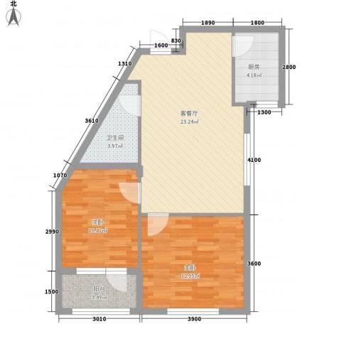 天鸿展视界82.88㎡25、26、28号楼F1户型2室2厅1卫1厨