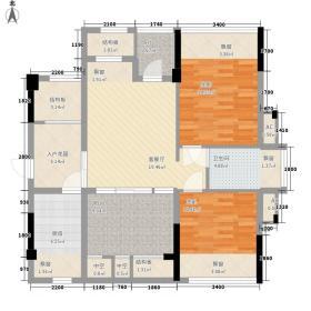 天健世纪花园74.61㎡5#3单元2+1房户型3室2厅1卫1厨