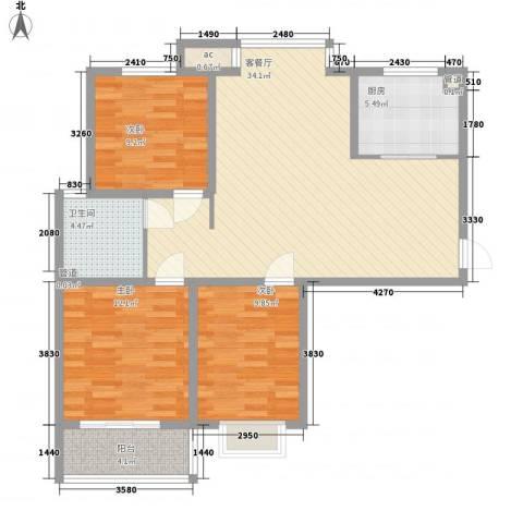 橄榄城114.00㎡(已售罄)14号楼户型3室2厅1卫1厨