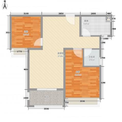 中央美地85.00㎡3#楼户型2室2厅1卫1厨