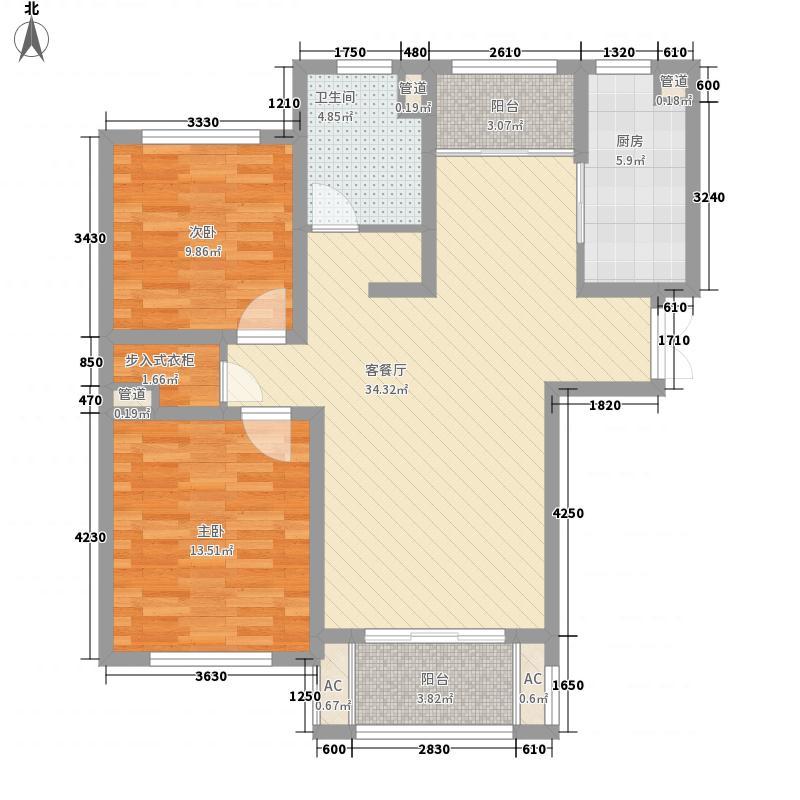 00㎡银洲皇家花园户型图a3户型2室2厅1卫1厨户型2室2厅1卫1厨