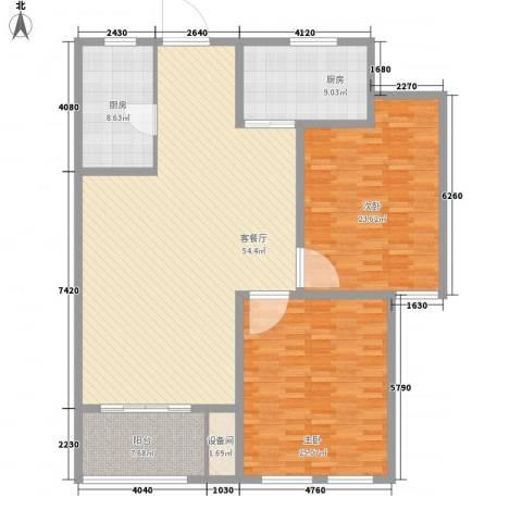 坤泰御景湾1.80㎡B9#B10#C户型2室2厅1卫1厨
